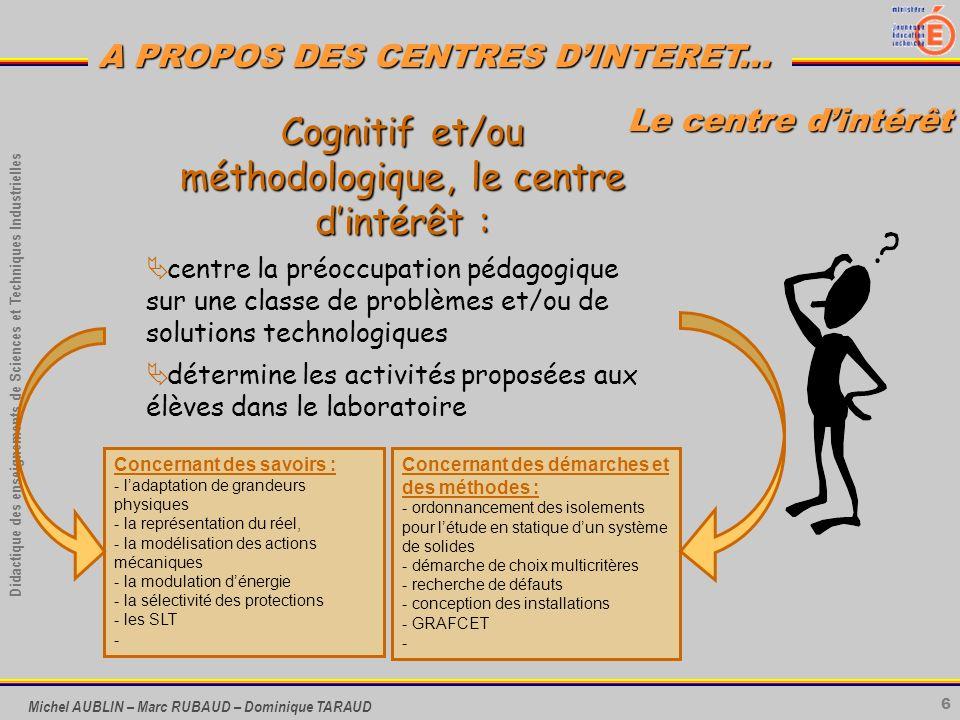 Cognitif et/ou méthodologique, le centre d'intérêt :