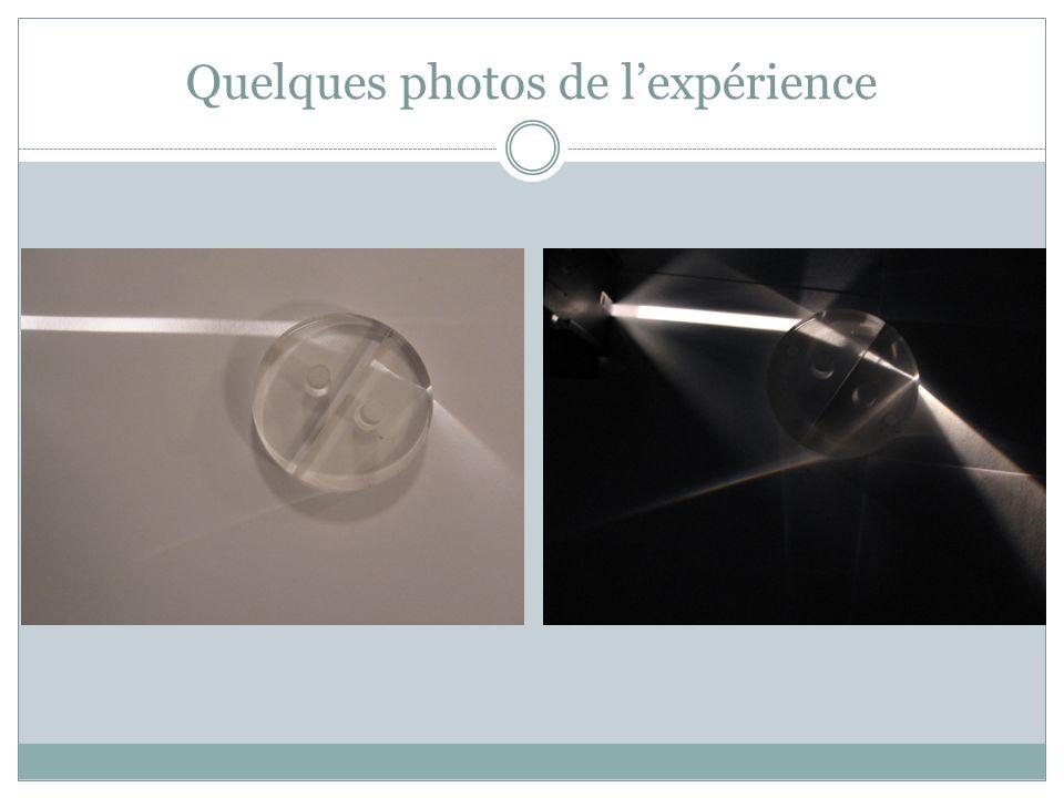 Quelques photos de l'expérience