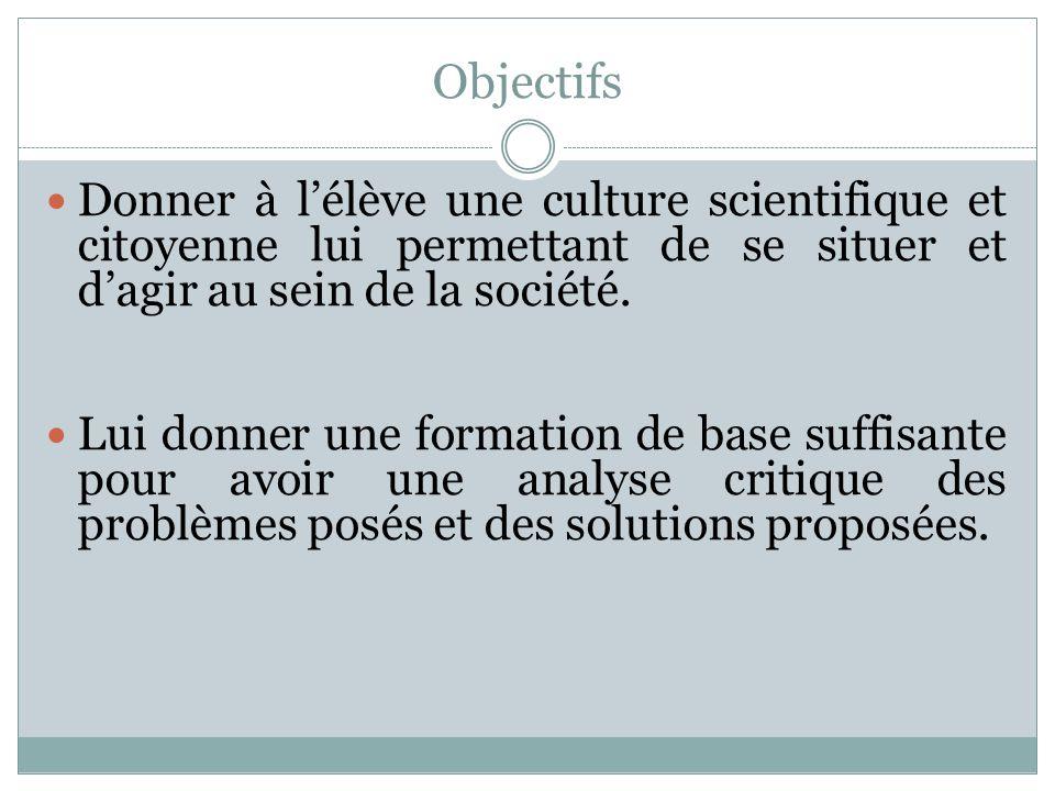Objectifs Donner à l'élève une culture scientifique et citoyenne lui permettant de se situer et d'agir au sein de la société.