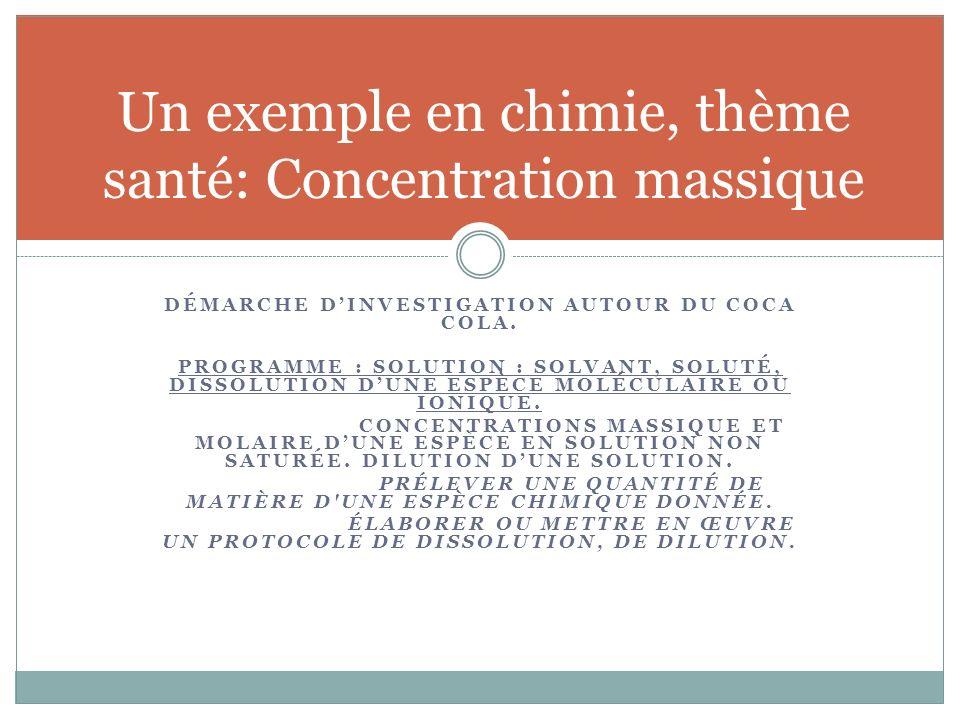 Un exemple en chimie, thème santé: Concentration massique