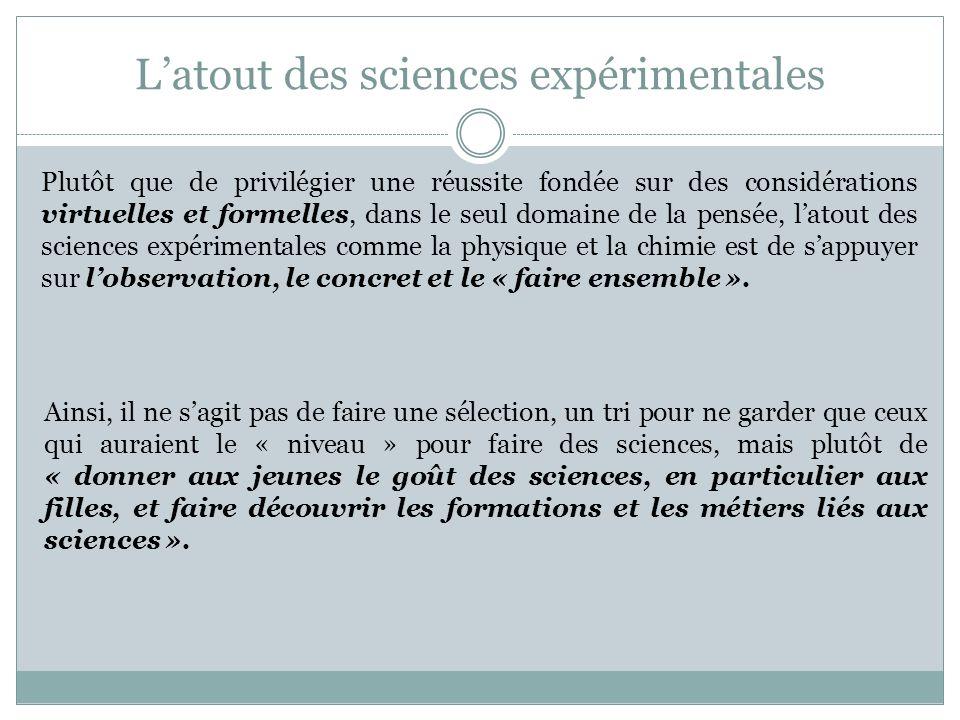 L'atout des sciences expérimentales