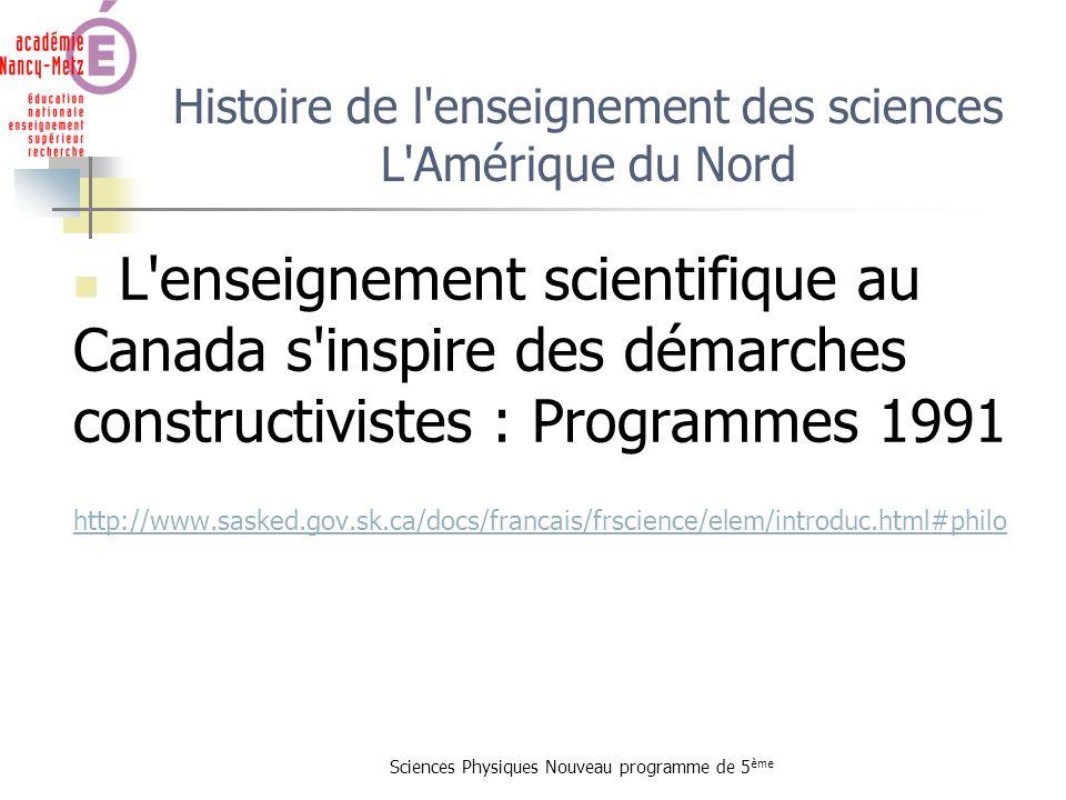Histoire de l enseignement des sciences L Amérique du Nord