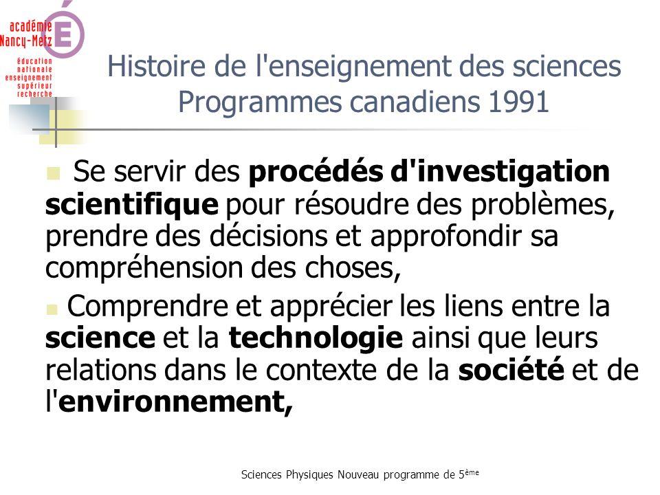 Histoire de l enseignement des sciences Programmes canadiens 1991
