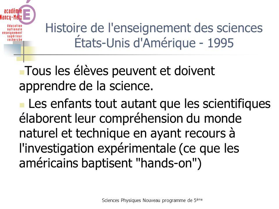 Histoire de l enseignement des sciences États-Unis d Amérique - 1995