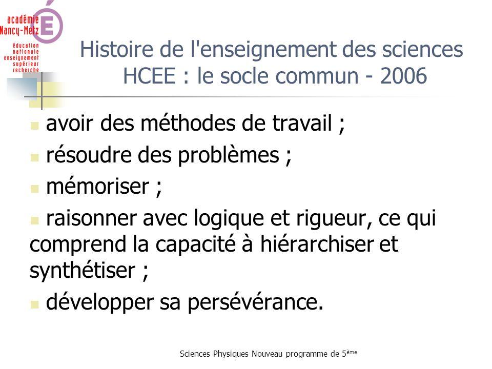 Histoire de l enseignement des sciences HCEE : le socle commun - 2006