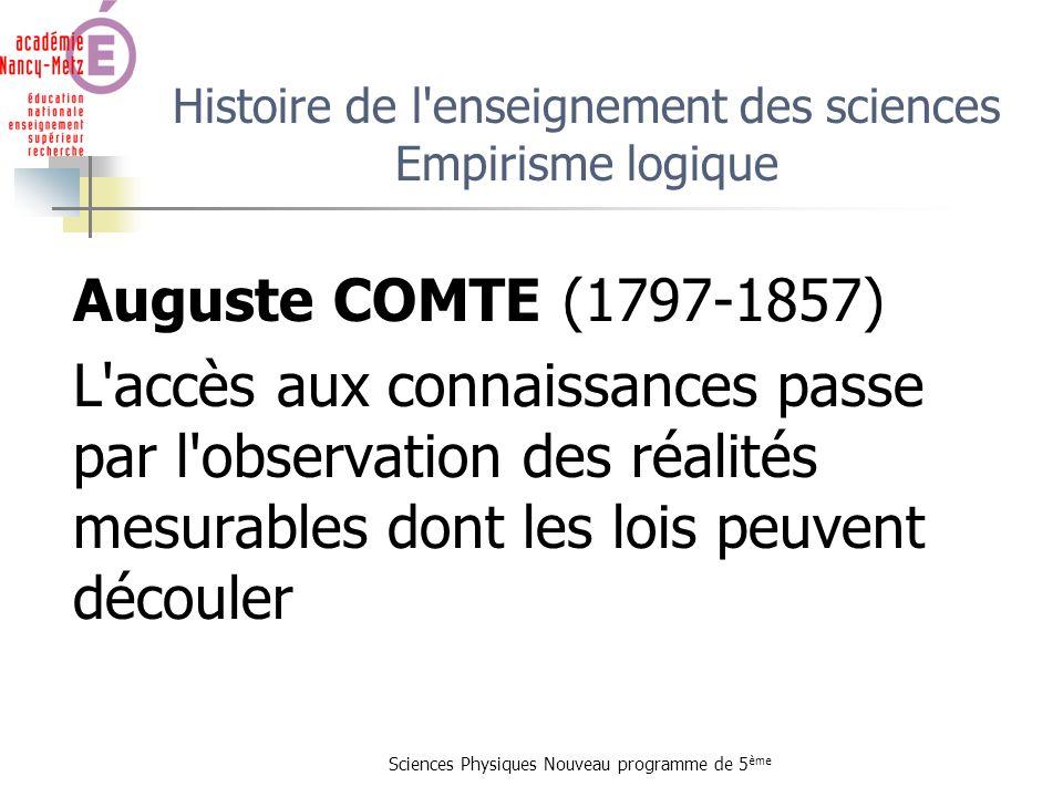 Histoire de l enseignement des sciences Empirisme logique