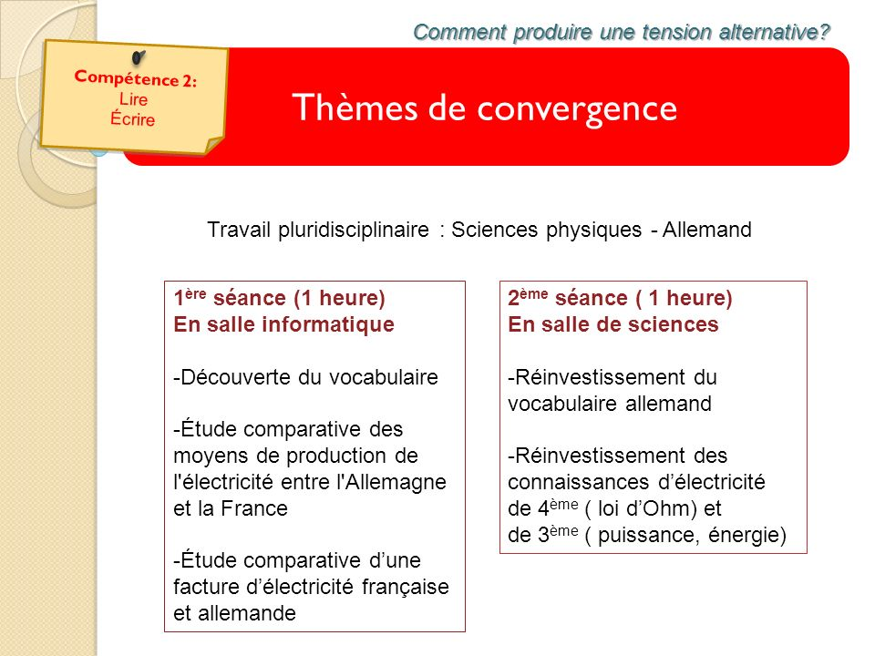 Thèmes de convergence Comment produire une tension alternative