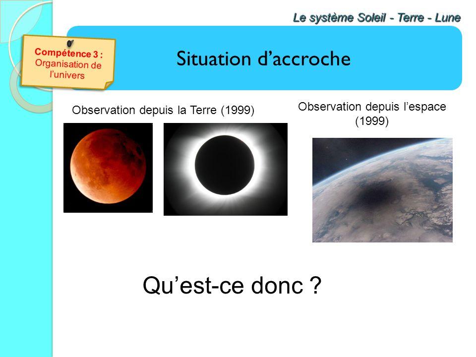 Qu'est-ce donc Situation d'accroche Le système Soleil - Terre - Lune