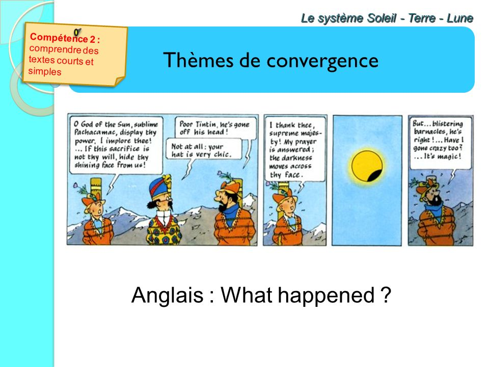 Anglais : What happened