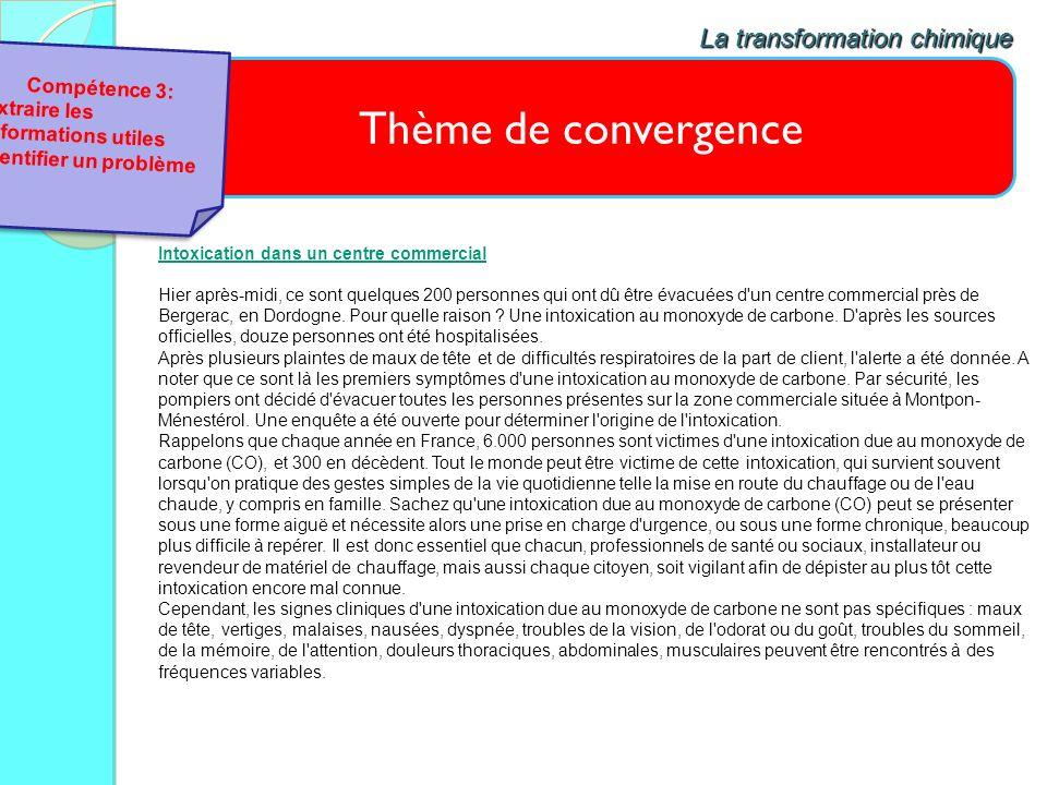 Thème de convergence La transformation chimique Compétence 3: