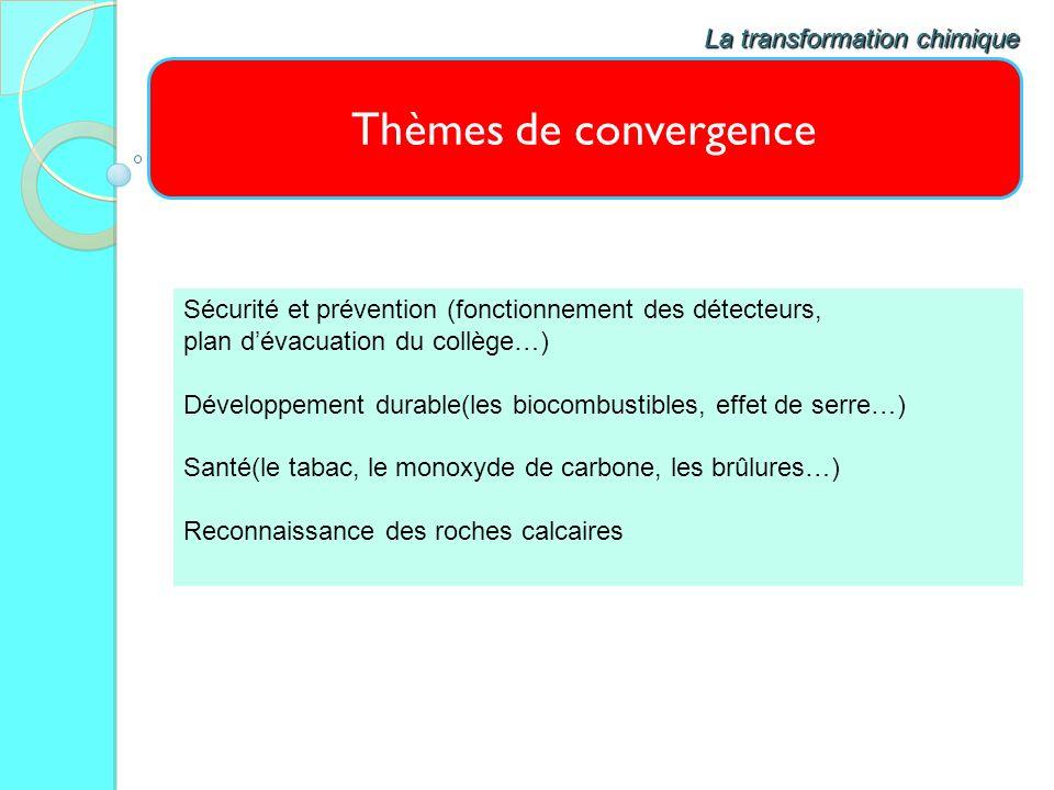 Thèmes de convergence La transformation chimique