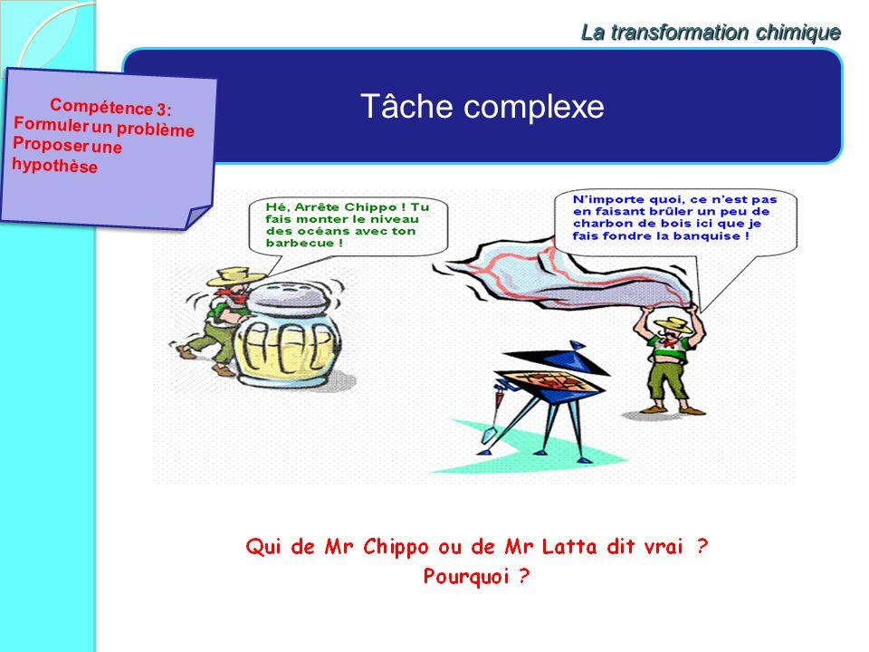 Tâche complexe La transformation chimique Compétence 3: