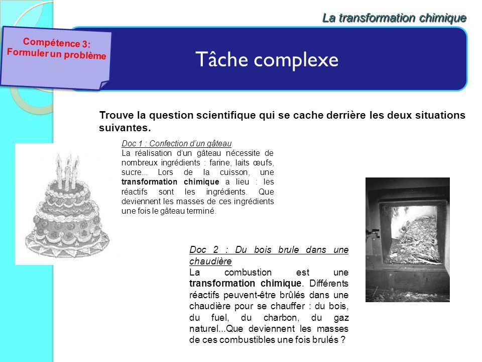 Tâche complexe La transformation chimique