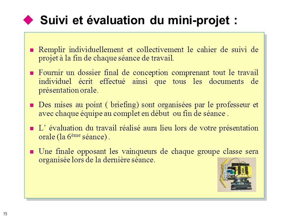 Suivi et évaluation du mini-projet :