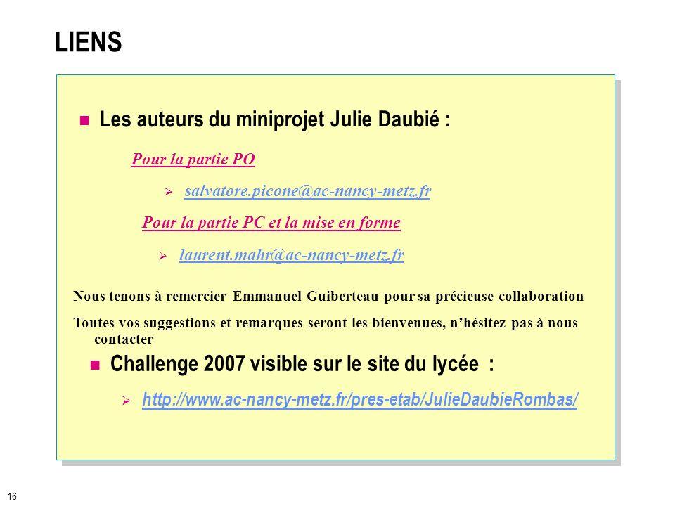 LIENS Les auteurs du miniprojet Julie Daubié :