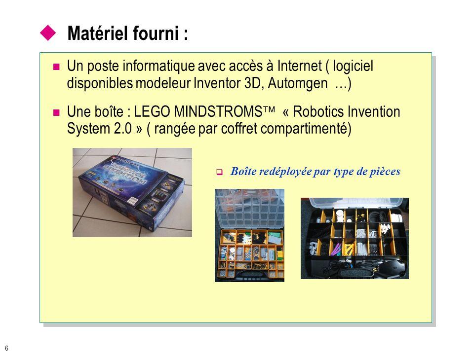 Matériel fourni : Un poste informatique avec accès à Internet ( logiciel disponibles modeleur Inventor 3D, Automgen …)