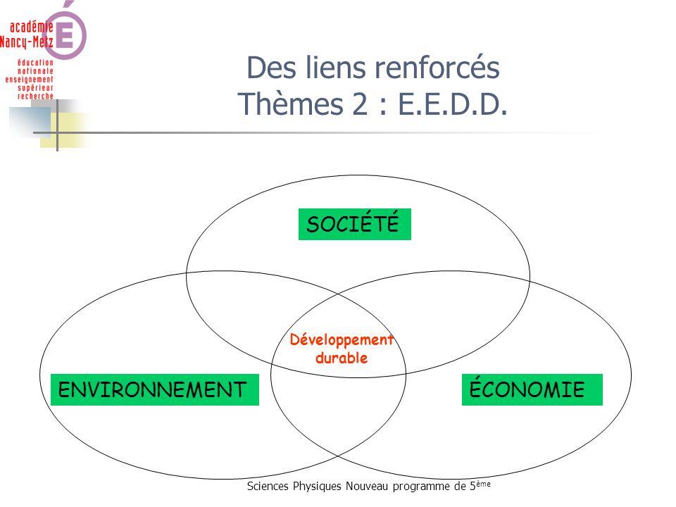 Des liens renforcés Thèmes 2 : E.E.D.D.