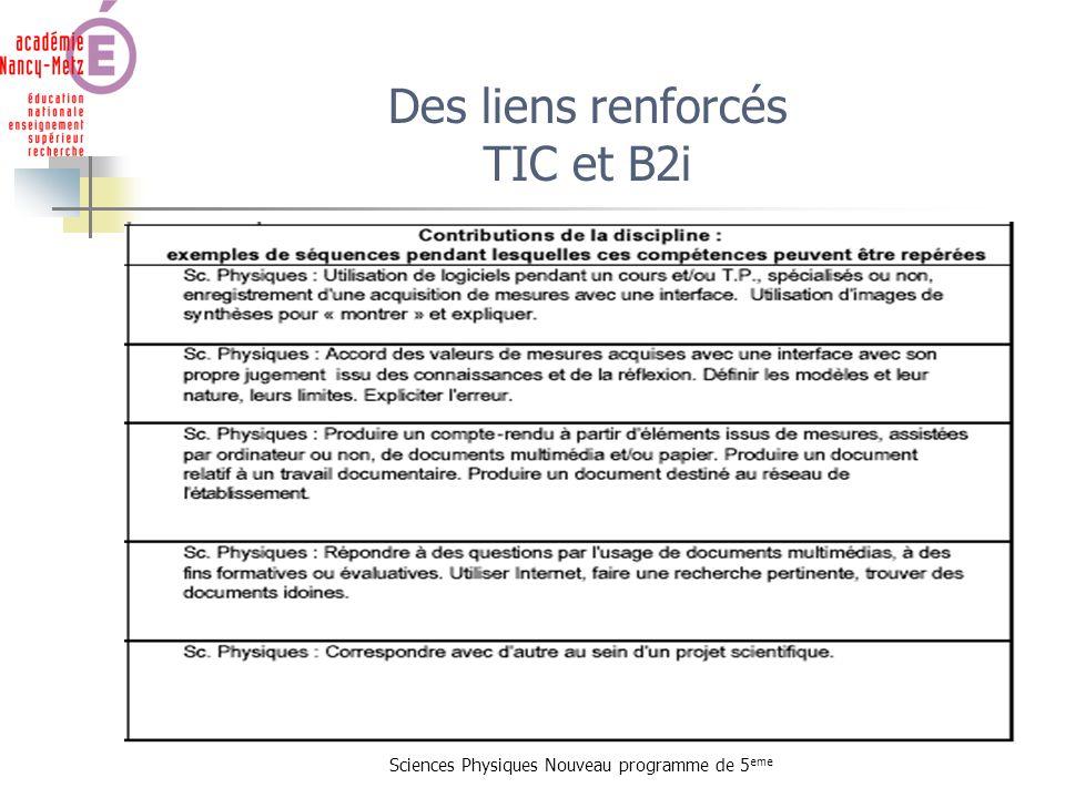 Des liens renforcés TIC et B2i