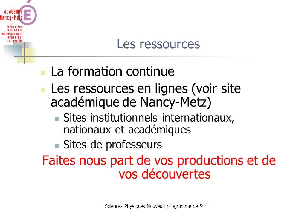 Les ressources en lignes (voir site académique de Nancy-Metz)