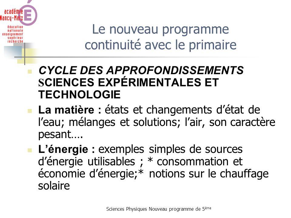 Le nouveau programme continuité avec le primaire