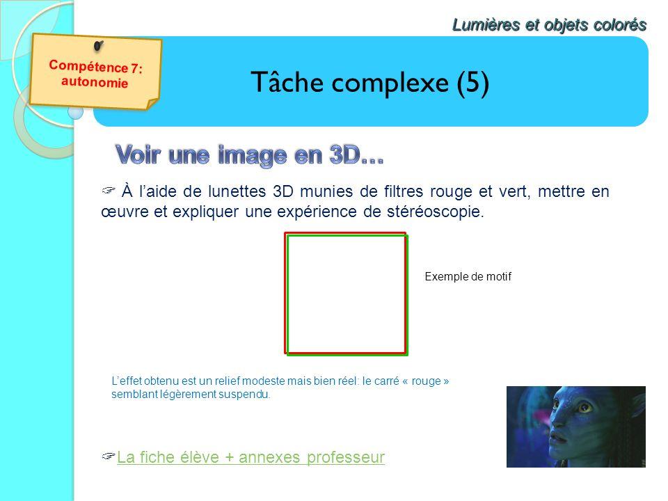 Tâche complexe (5) Voir une image en 3D… Lumières et objets colorés