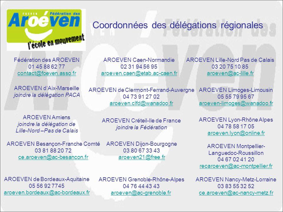 Coordonnées des délégations régionales