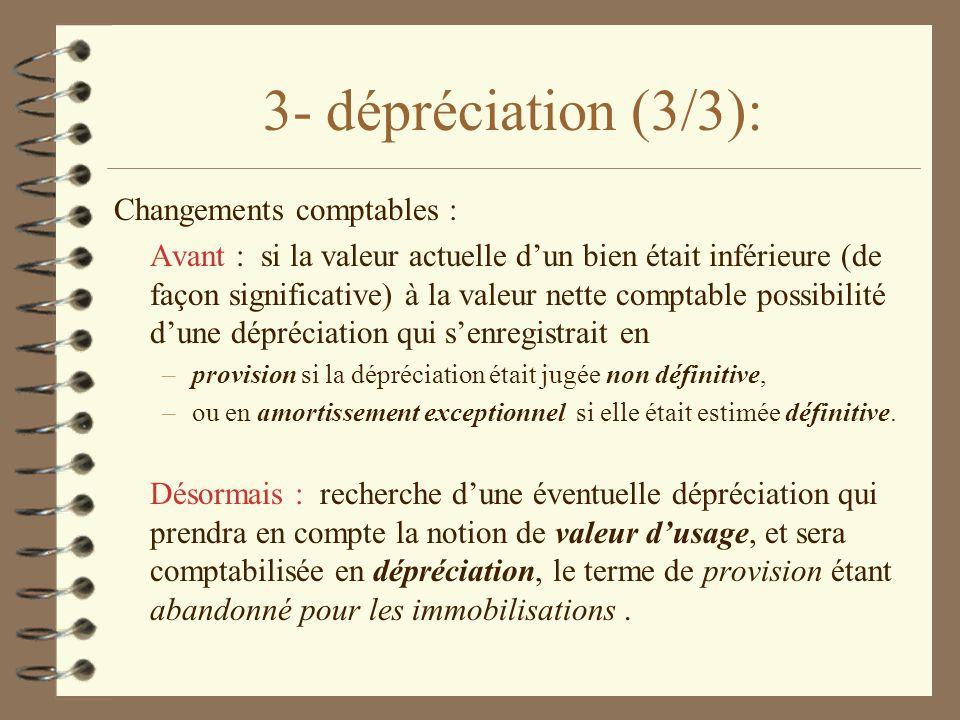3- dépréciation (3/3): Changements comptables :
