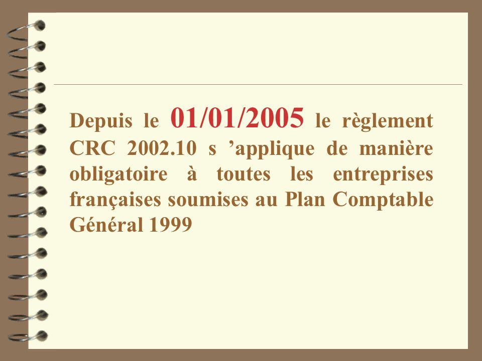 Depuis le 01/01/2005 le règlement CRC 2002