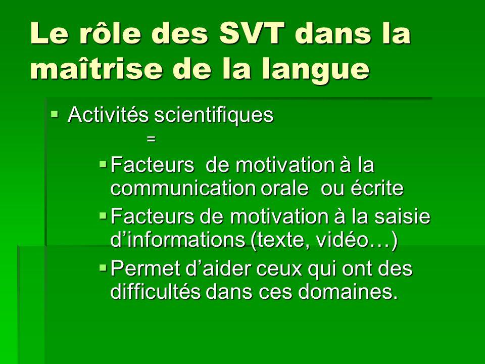 Le rôle des SVT dans la maîtrise de la langue