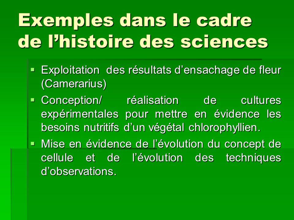Exemples dans le cadre de l'histoire des sciences