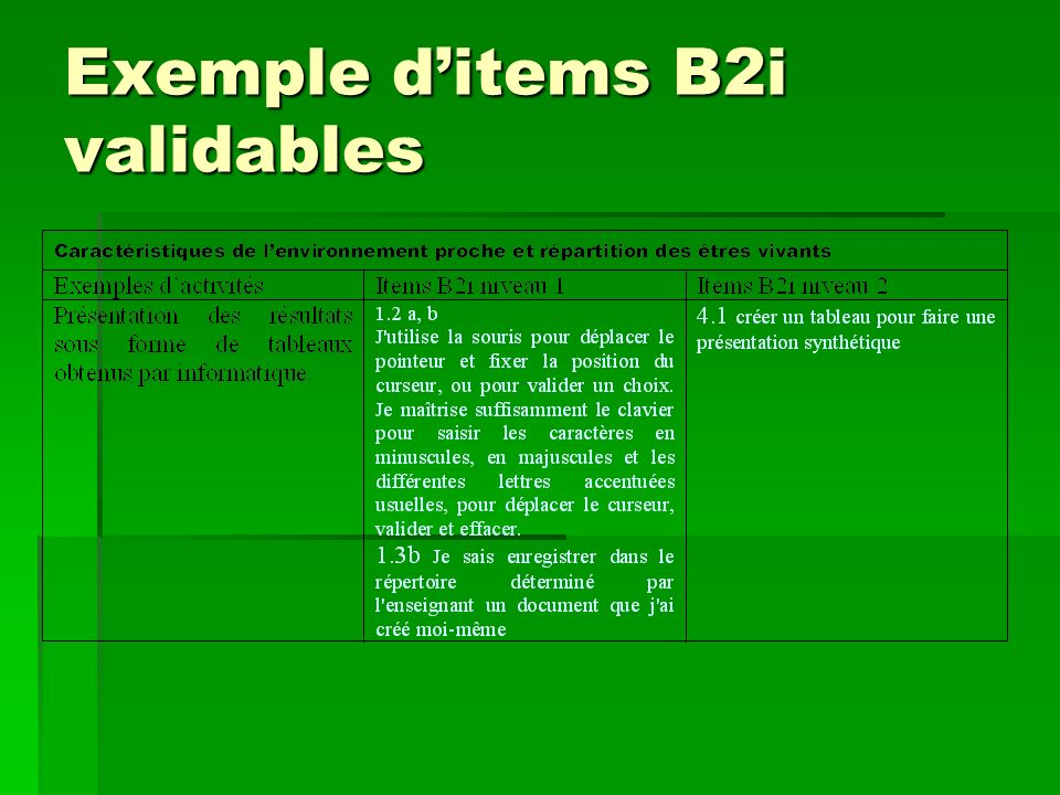 Exemple d'items B2i validables