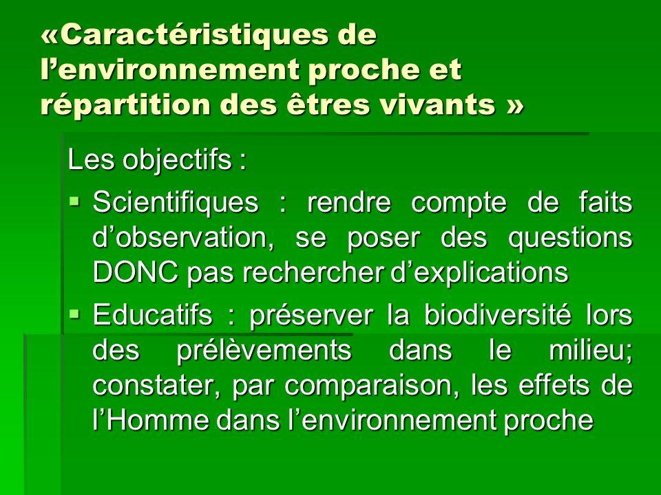 «Caractéristiques de l'environnement proche et répartition des êtres vivants »