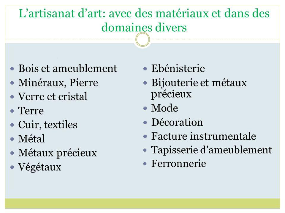 L'artisanat d'art: avec des matériaux et dans des domaines divers
