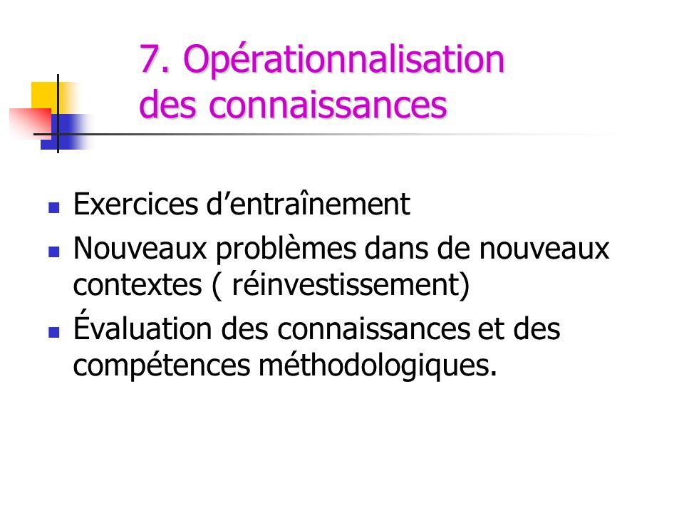 7. Opérationnalisation des connaissances