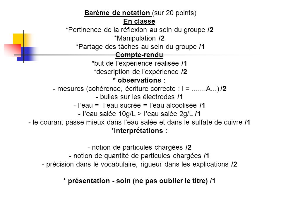 Barème de notation (sur 20 points) En classe