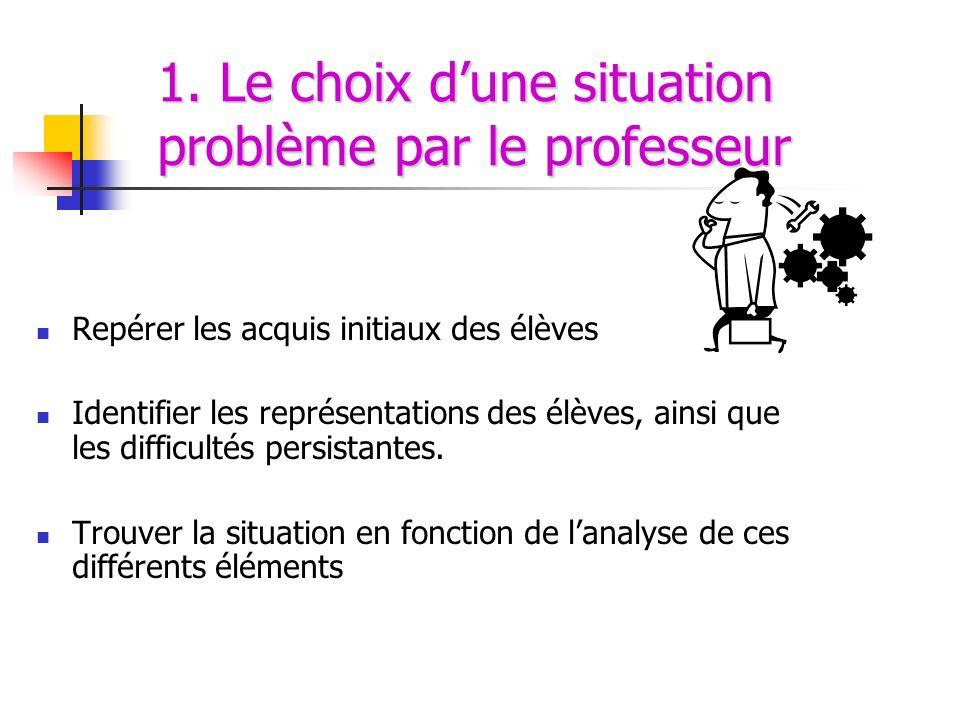 1. Le choix d'une situation problème par le professeur