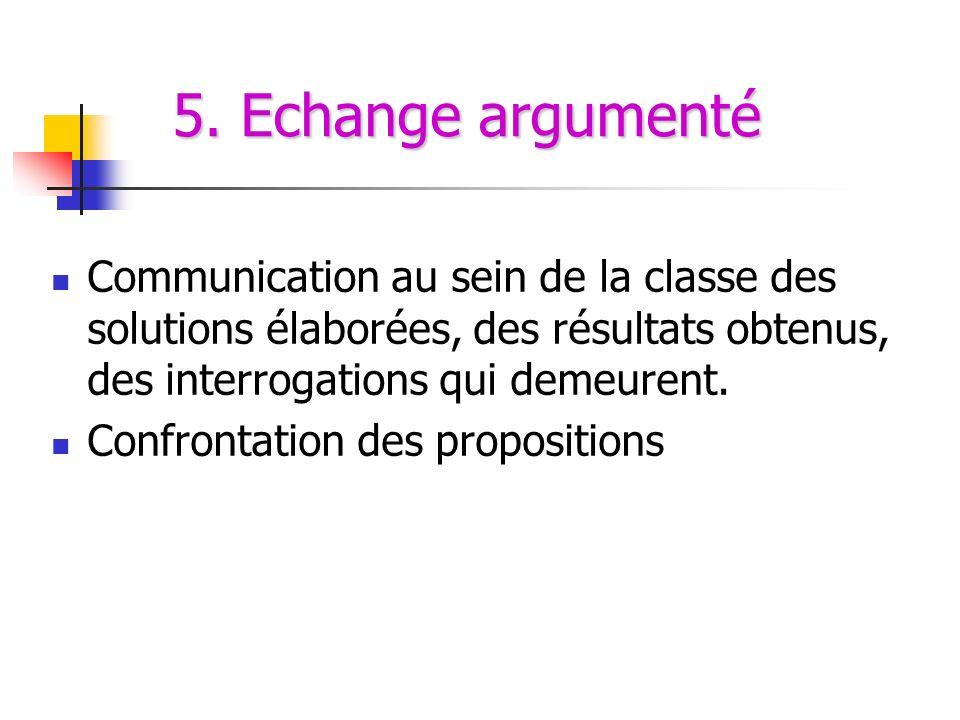 5. Echange argumenté Communication au sein de la classe des solutions élaborées, des résultats obtenus, des interrogations qui demeurent.