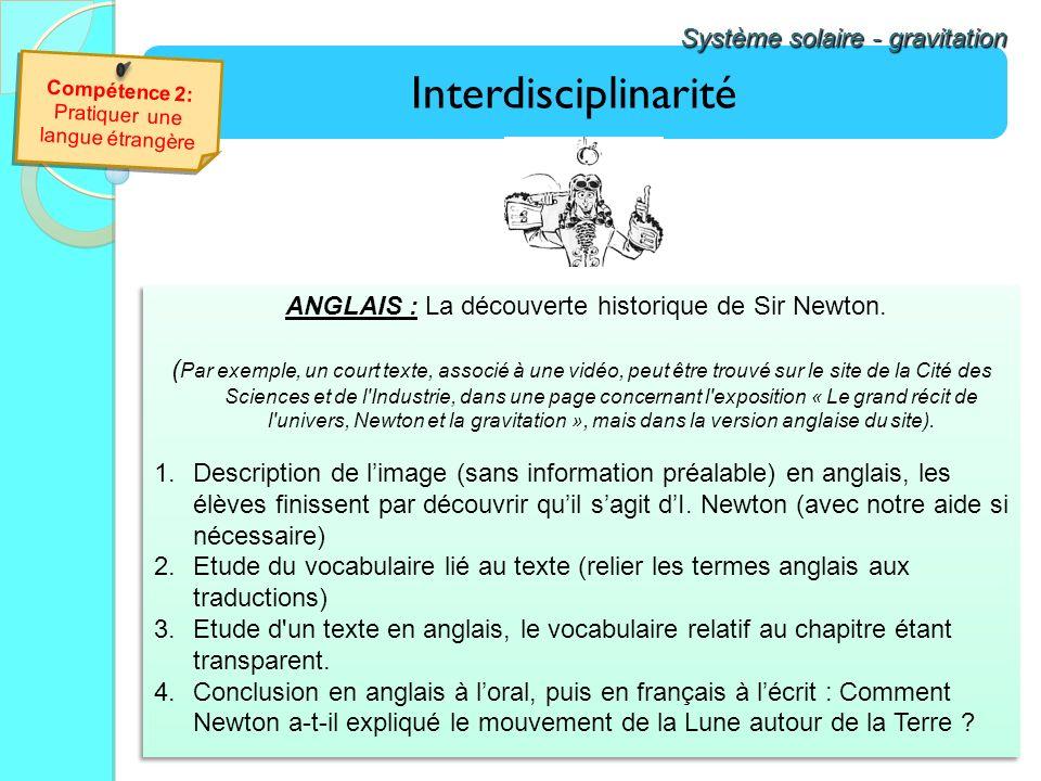 Interdisciplinarité Système solaire - gravitation