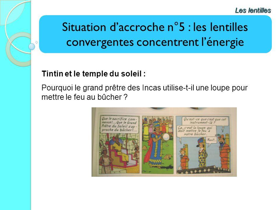 Les lentilles Situation d'accroche n°5 : les lentilles convergentes concentrent l'énergie. Tintin et le temple du soleil :