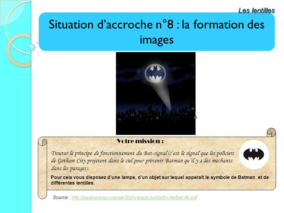 Situation d'accroche n°8 : la formation des images