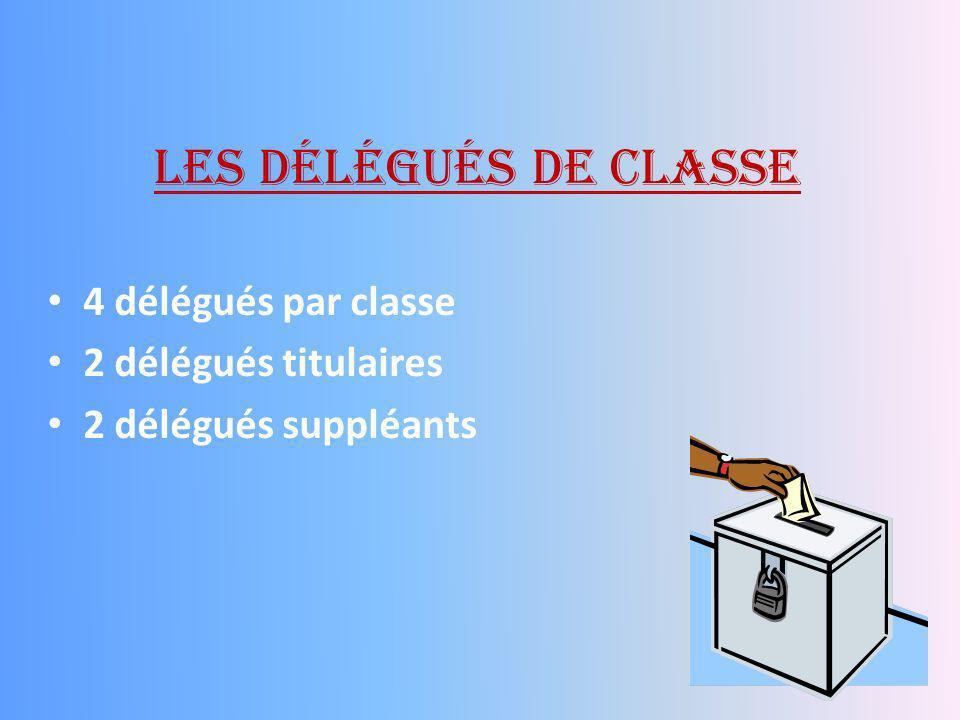 Les délégués de classe 4 délégués par classe 2 délégués titulaires