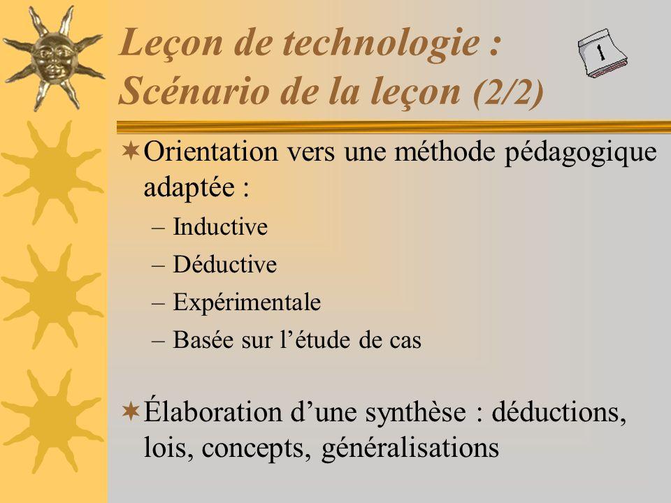Leçon de technologie : Scénario de la leçon (2/2)