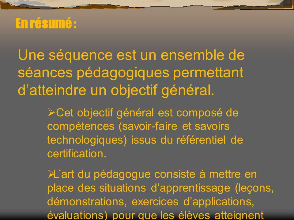 En résumé :Une séquence est un ensemble de séances pédagogiques permettant d'atteindre un objectif général.