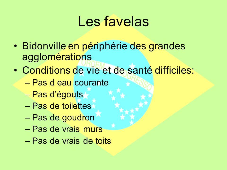 Les favelas Bidonville en périphérie des grandes agglomérations
