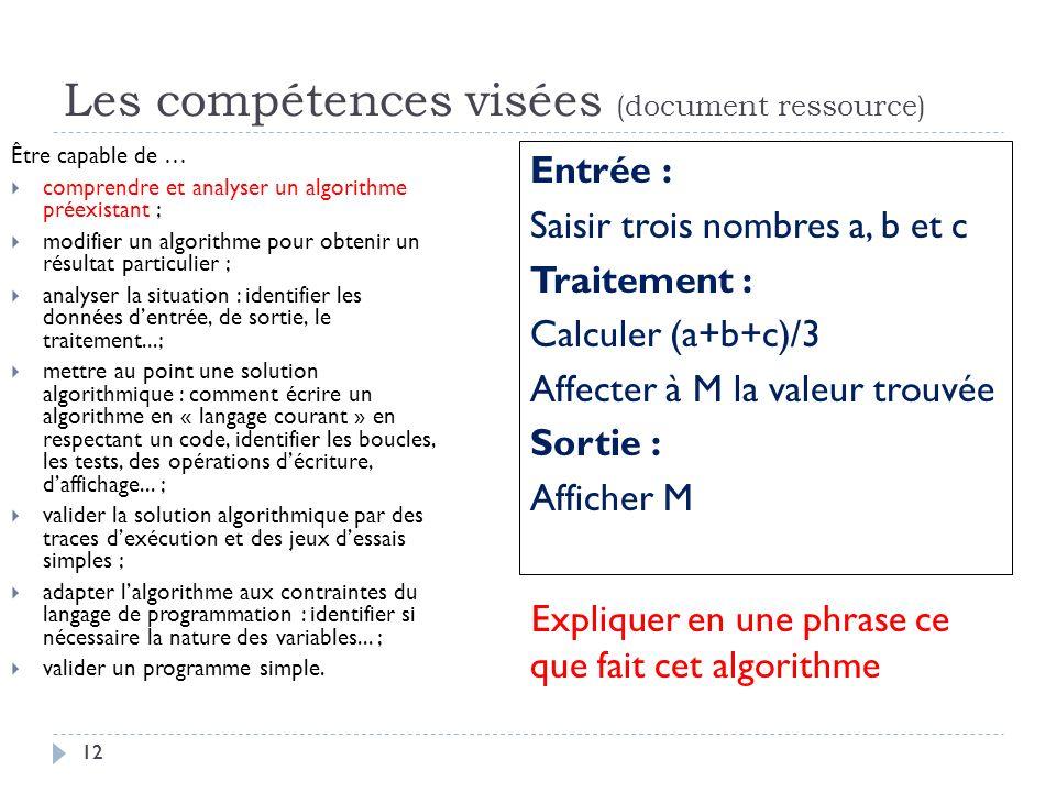 Les compétences visées (document ressource)