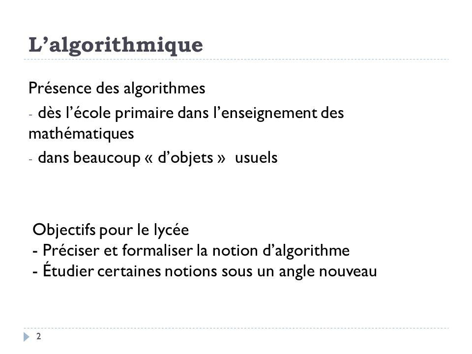 L'algorithmique Présence des algorithmes