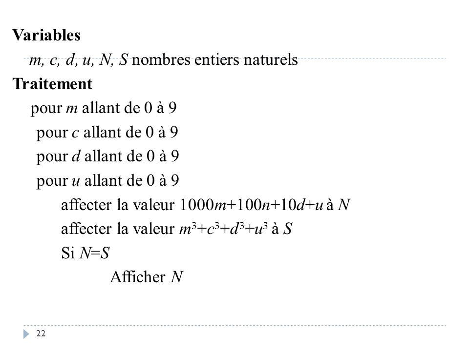 Variables m, c, d, u, N, S nombres entiers naturels Traitement pour m allant de 0 à 9 pour c allant de 0 à 9 pour d allant de 0 à 9 pour u allant de 0 à 9 affecter la valeur 1000m+100n+10d+u à N affecter la valeur m3+c3+d3+u3 à S Si N=S Afficher N
