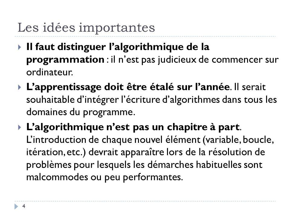 Les idées importantes Il faut distinguer l'algorithmique de la programmation : il n'est pas judicieux de commencer sur ordinateur.