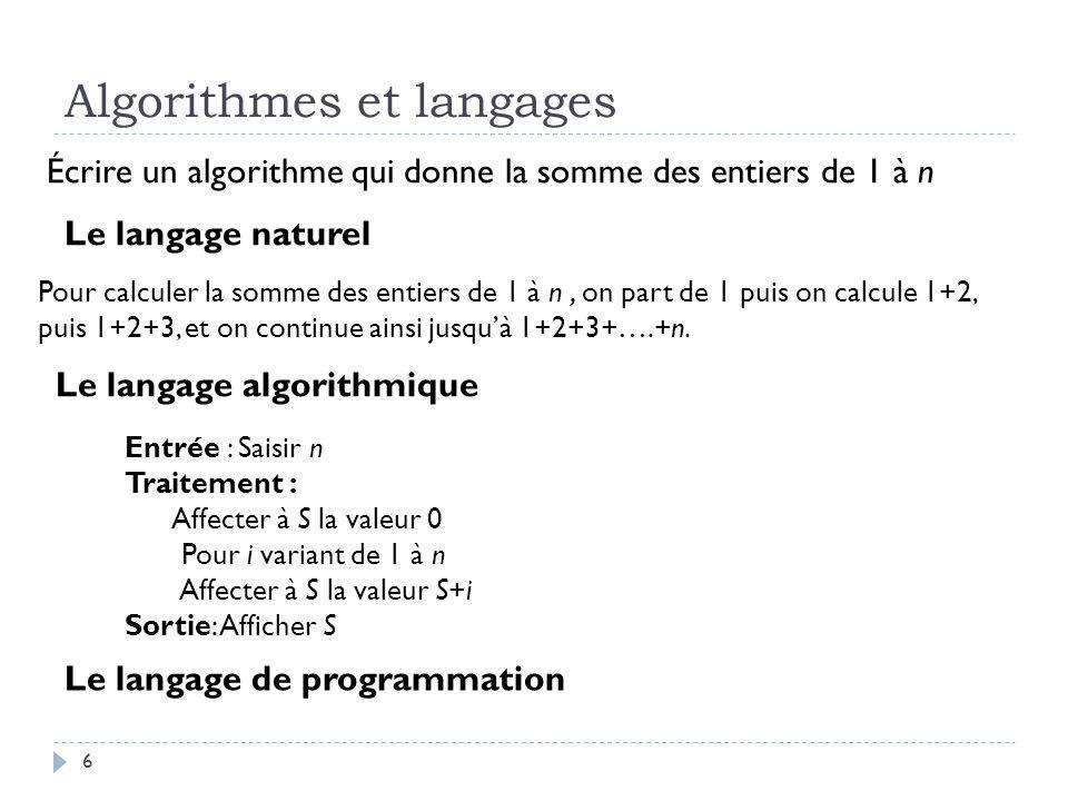 Algorithmes et langages