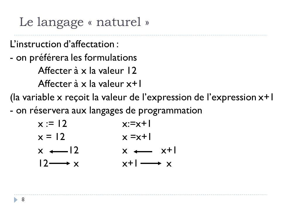 Le langage « naturel »